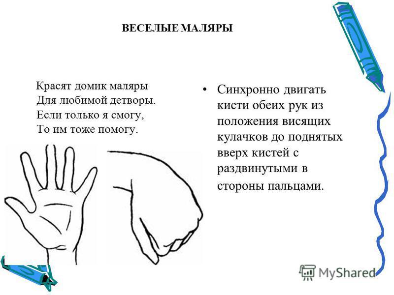 ВЕСЕЛЫЕ МАЛЯРЫ Красят домик маляры Для любимой детворы. Если только я смогу, То им тоже помогу. Синхронно двигать кисти обеих рук из положения висящих кулачков до поднятых вверх кистей с раздвинутыми в стороны пальцами.