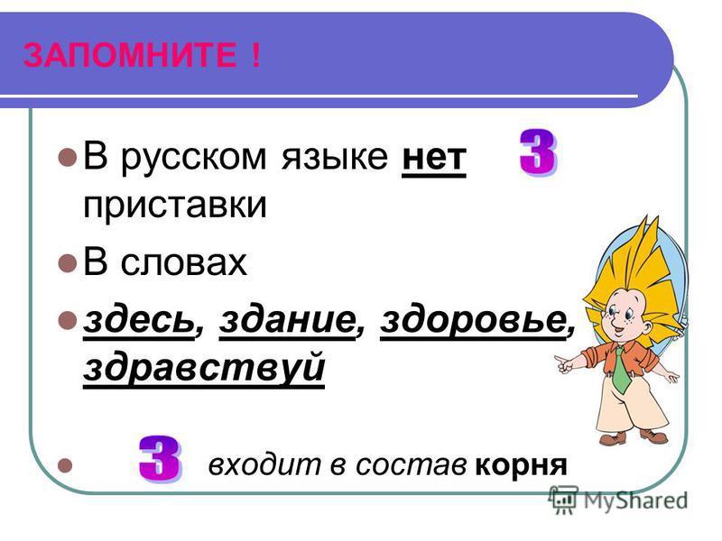 ЗАПОМНИТЕ ! В русском языке нет приставки В словах здесь, здание, здоровье, здравствуй входит в состав корня