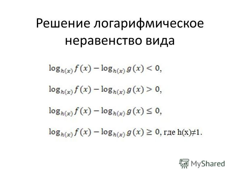 Решение логарифмическое неравенство вида