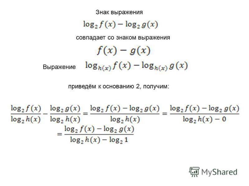 Знак выражения совпадает со знаком выражения Выражение приведём к основанию 2, получим: