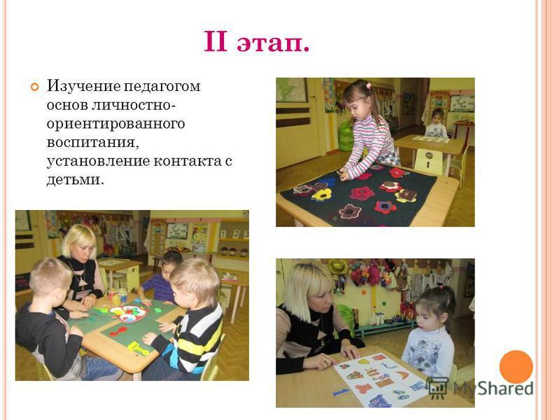 II этап. Изучение педагогом основ личностно- ориентированного воспитания, установление контакта с детьми.