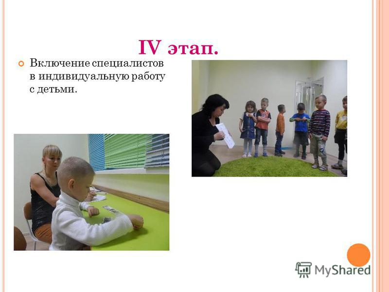 IV этап. Включение специалистов в индивидуальную работу с детьми.