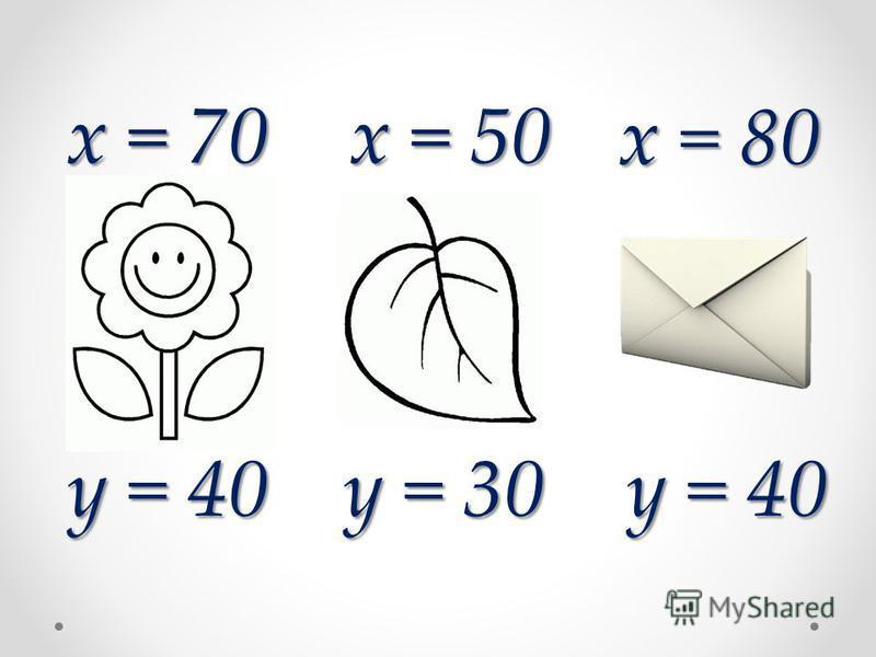 x = 80 x = 50 x = 70 y = 40 y = 30 y = 40