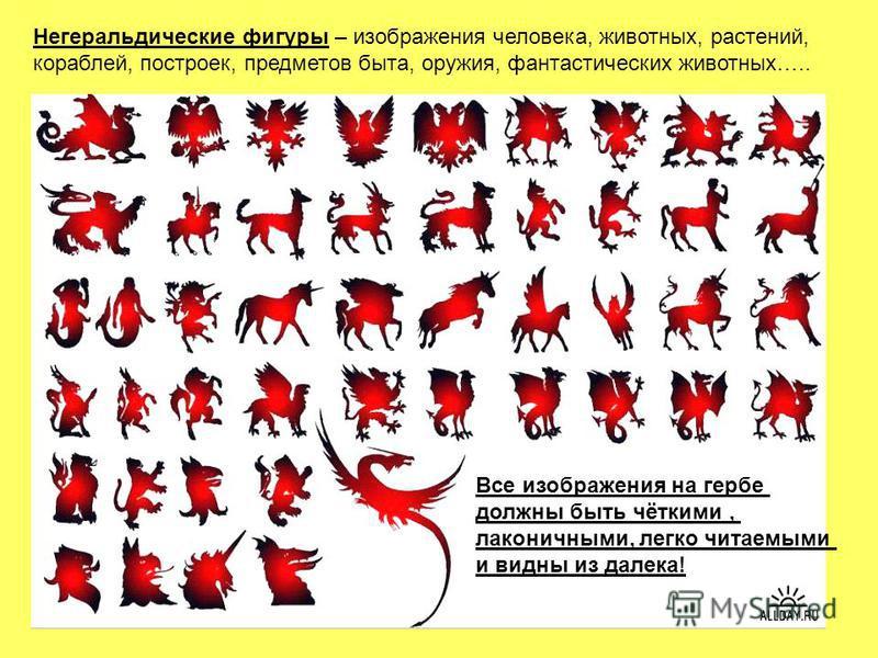 Негеральдические фигуры – изображения человека, животных, растений, кораблей, построек, предметов быта, оружия, фантастических животных….. Все изображения на гербе должны быть чёткими, лаконичными, легко читаемыми и видны из далека!