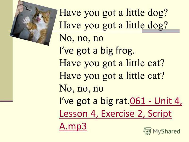Have you got a little dog? No, no, no Ive got a big frog. Have you got a little cat? No, no, no Ive got a big rat.061 - Unit 4, Lesson 4, Exercise 2, Script A.mp3061 - Unit 4, Lesson 4, Exercise 2, Script A.mp3