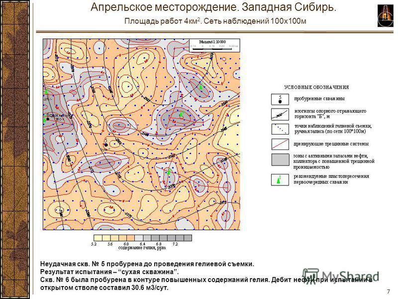 7 Апрельское месторождение. Западная Сибирь. Площадь работ 4 км 2. Сеть наблюдений 100x100 м Неудачная скв. 5 пробурена до проведения гелиевой съемки. Результат испытания – сухая скважина. Скв. 6 была пробурена в контуре повышенных содержаний гелия.