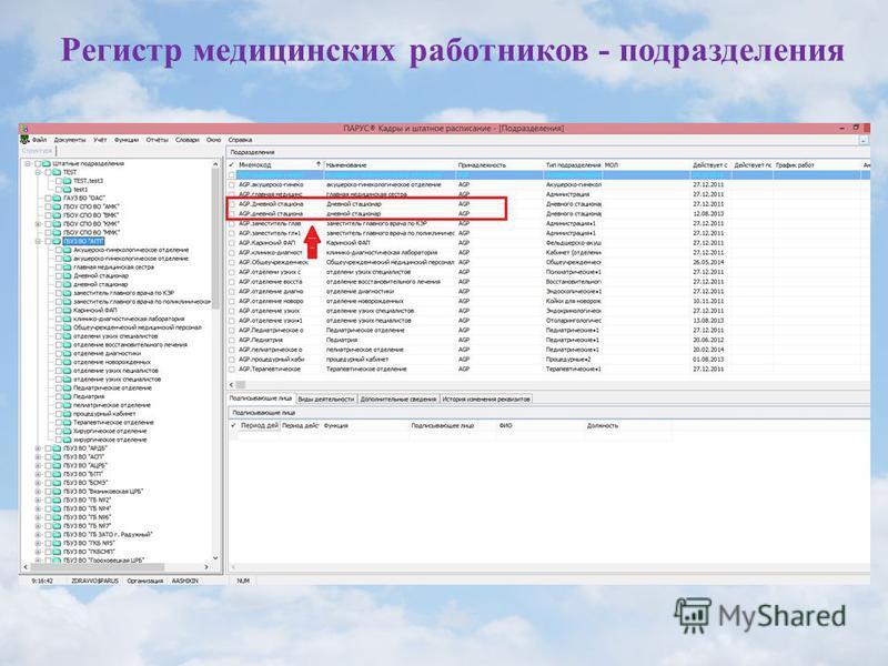 Регистр медицинских работников - подразделения