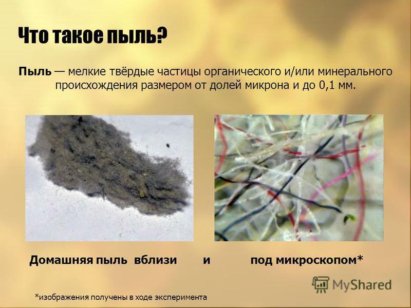 Пыль мелкие твёрдые частицы органического и/или минерального происхождения размером от долей микрона и до 0,1 мм. Что такое пыль? Домашняя пыль вблизи и под микроскопом* *изображения получены в ходе эксперимента