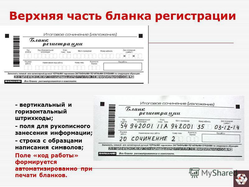 Верхняя часть бланка регистрации - вертикальный и горизонтальный штрихкоды; - поля для рукописного занесения информации; - строка с образцами написания символов; Поле «код работы» формируется автоматизированной при печати бланков.