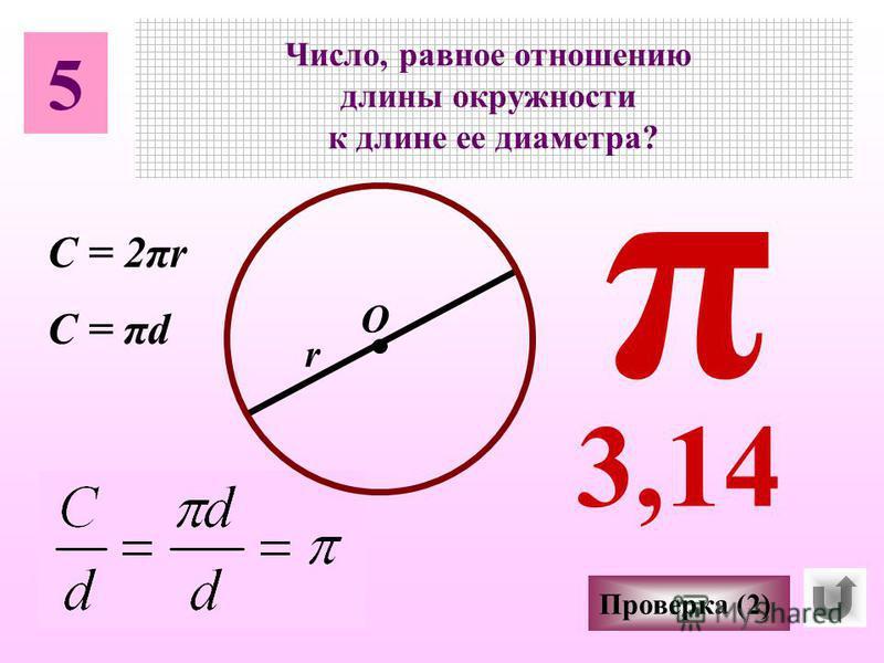 5 Число, равное отношению длины окружности к длине ее диаметра? О π r Проверка (2) 3,14 C = 2πr C = πd