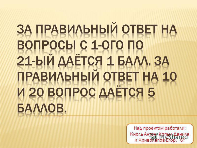 Над проектом работали: Кноль Антон, Копыл Данила и Криволапов Егор. 6 б