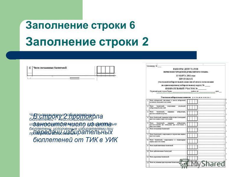 Заполнение строки 6 Число погашенных избирательных бюллетеней = неиспользованные избирательные бюллетени + избирательные бюллетени, испорченные избирателями при проведении голосования В строку 2 протокола заносится число из акта передачи избирательны