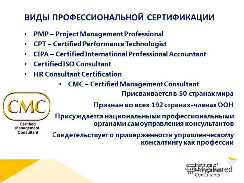 ВИДЫ ПРОФЕССИОНАЛЬНОЙ СЕРТИФИКАЦИИ PMP – Project Management Professional CPT – Certified Performance Technologist CIPA – Certified International Professional Accountant Certified ISO Consultant HR Consultant Certification CMC – Certified Management C