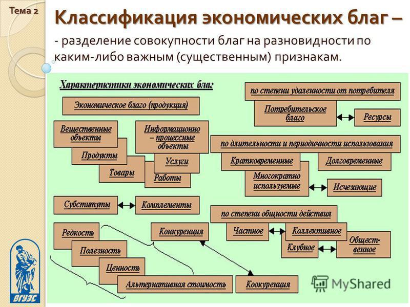 Классификация экономических благ – Тема 2 19 - разделение совокупности благ на разновидности по каким - либо важным ( существенным ) признакам.
