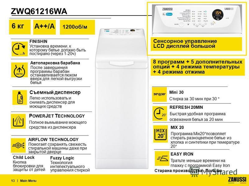 ZWQ61216WA | Main Menu 13 AIRFLOW TECHNOLOGY Помогает сохранять свежесть стиральной машины даже при закрытой дверце P OWER J ET T ECHNOLOGY Полное вымывание моющего средства из диспенсера 6 кг А++/А 1200 об/м Съемный диспенсер Легко использовать и сн