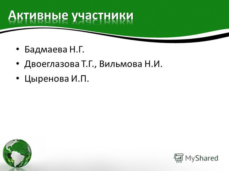 Бадмаева Н.Г. Двоеглазова Т.Г., Вильмова Н.И. Цыренова И.П.