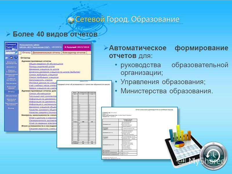 Более 40 видов отчетов Автоматическое формирование отчетов для: руководства образовательной организации; Управления образования; Министерства образования.