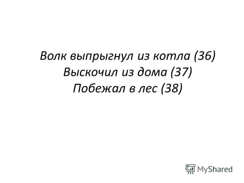 Волк выпрыгнул из котла (36) Выскочил из дома (37) Побежал в лес (38).