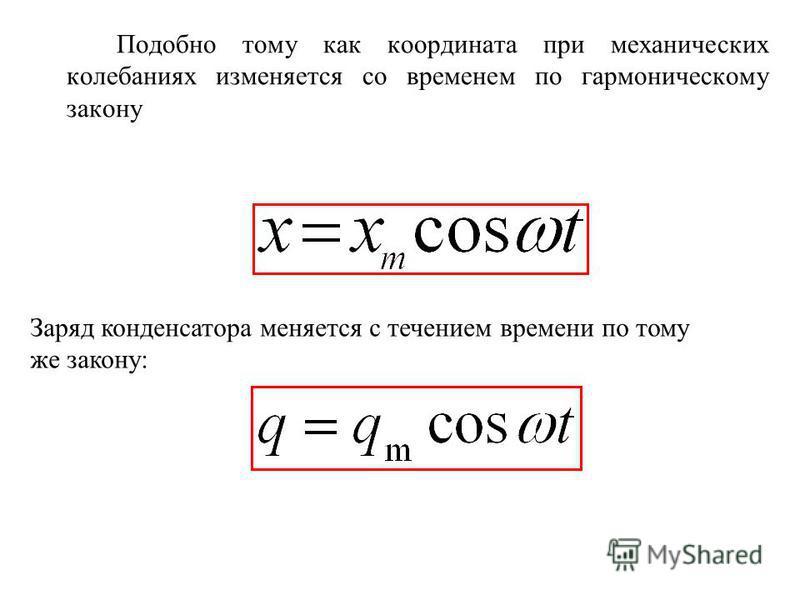 Подобно тому как координата при механических колебаниях изменяется со временем по гармоническому закону Заряд конденсатора меняется с течением времени по тому же закону: