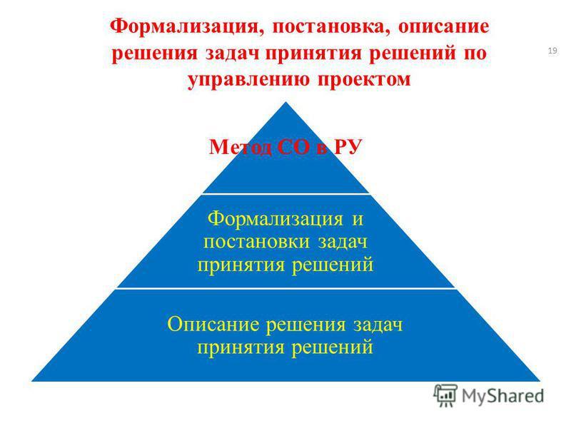 Формализация, постановка, описание решения задач принятия решений по управлению проектом Метод СО в РУ Формализация и постановки задач принятия решений Описание решения задач принятия решений 19