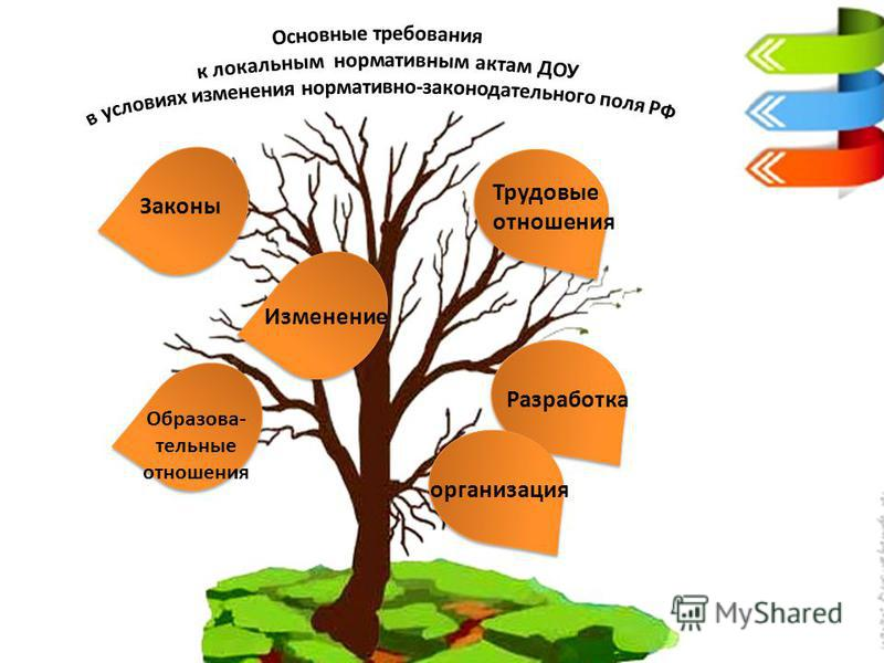 Законы Трудовые отношения Образова- тельные отношения Изменение Разработка организация