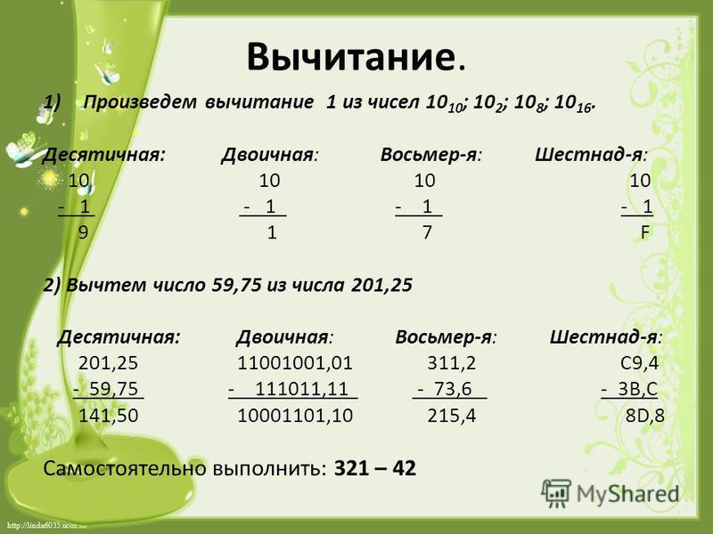 http://linda6035.ucoz.ru/ Вычитание. 1)Произведем вычитание 1 из чисел 10 10 ; 10 2 ; 10 8 ; 10 16. Десятичная: Двоичная: Восьмер-я: Шестнад-я: 10 10 10 10 - 1 - 1 - 1 - 1 9 1 7 F 2) Вычтем число 59,75 из числа 201,25 Десятичная: Двоичная: Восьмер-я: