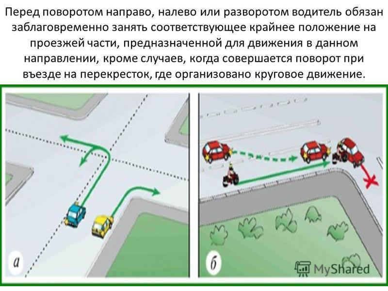 Перед поворотом направо, налево или разворотом водитель обязан заблаговременно занять соответствующее крайнее положение на проезжей части, предназначенной для движения в данном направлении, кроме случаев, когда совершается поворот при въезде на перек