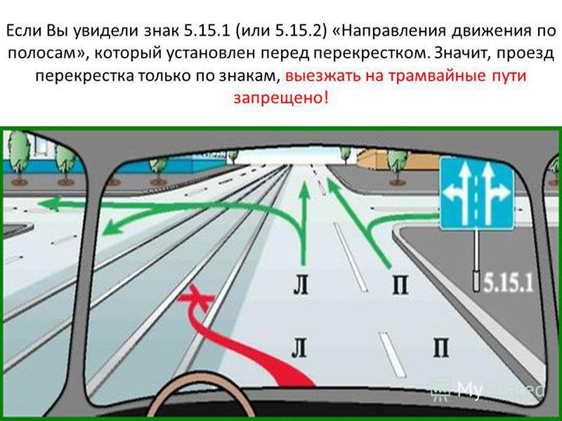 Если Вы увидели знак 5.15.1 (или 5.15.2) «Направления движения по полосам», который установлен перед перекрестком. Значит, проезд перекрестка только по знакам, выезжать на трамвайные пути запрещено!