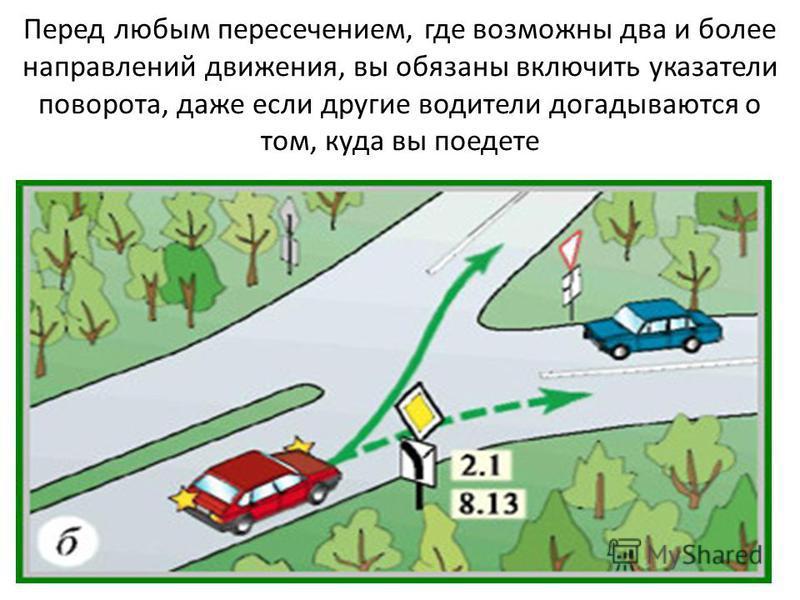 Перед любым пересечением, где возможны два и более направлений движения, вы обязаны включить указатели поворота, даже если другие водители догадываются о том, куда вы поедете