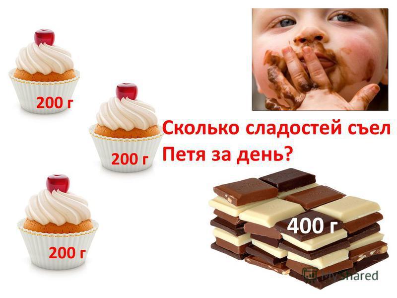 Сколько сладостей съел Петя за день? 200 г 400 г