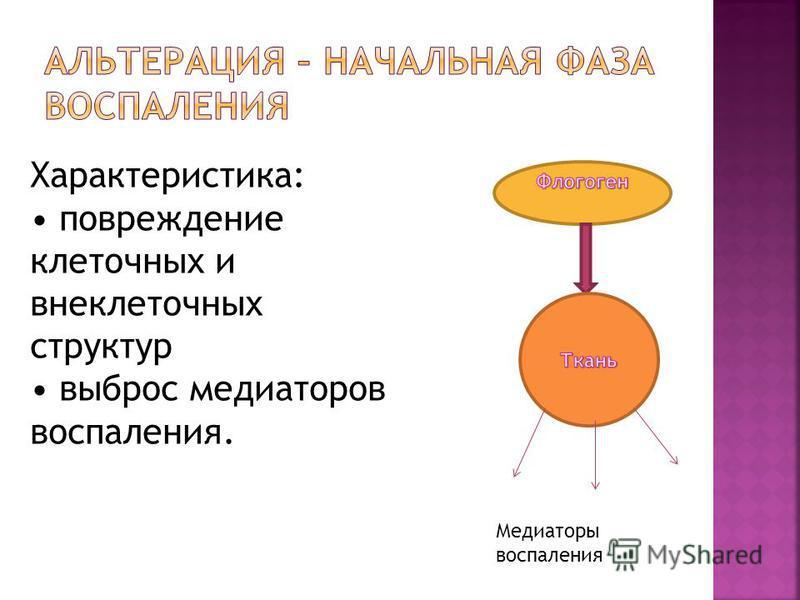 Характеристика: повреждение клеточных и внеклеточных структур выброс медиаторов воспаления. Медиаторы воспаления