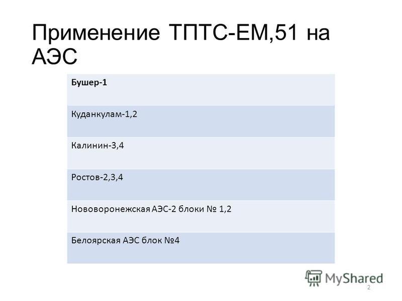 Применение ТПТС-ЕМ,51 на АЭС Бушер-1 Куданкулам-1,2 Калинин-3,4 Ростов-2,3,4 Нововоронежская АЭС-2 блоки 1,2 Белоярская АЭС блок 4 2