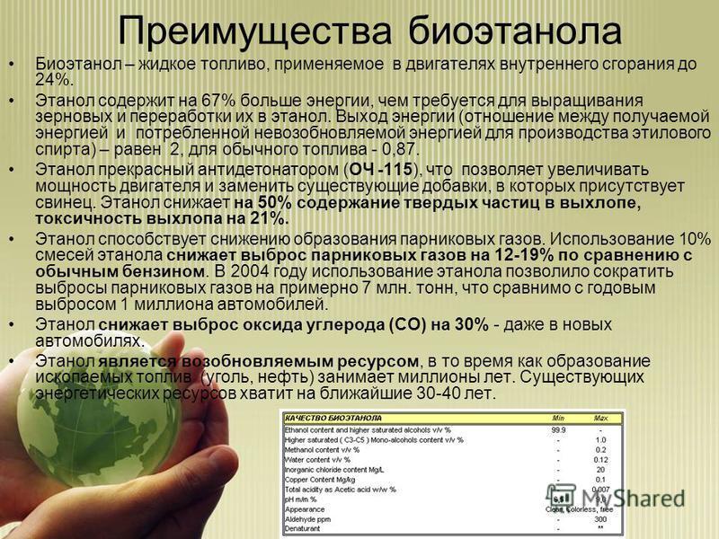 Биоэтанол – жидкое топливо, применяемое в двигателях внутреннего сгорания до 24%. Этанол содержит на 67% больше энергии, чем требуется для выращивания зерновых и переработки их в этанол. Выход энергии (отношение между получаемой энергией и потребленн