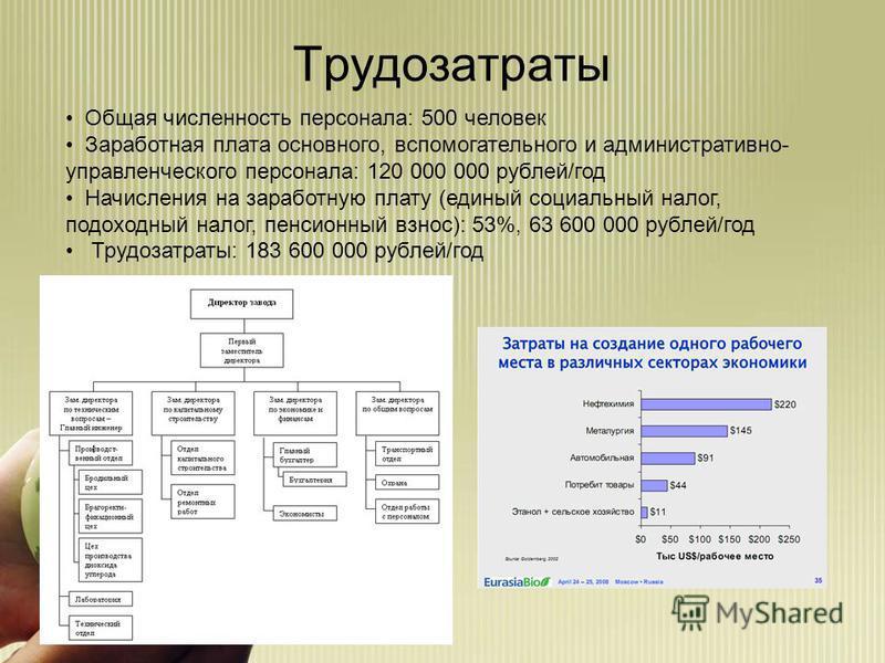 Трудозатраты Общая численность персонала: 500 человек Заработная плата основного, вспомогательного и административно- управленческого персонала: 120 000 000 рублей/год Начисления на заработную плату (единый социальный налог, подоходный налог, пенсион