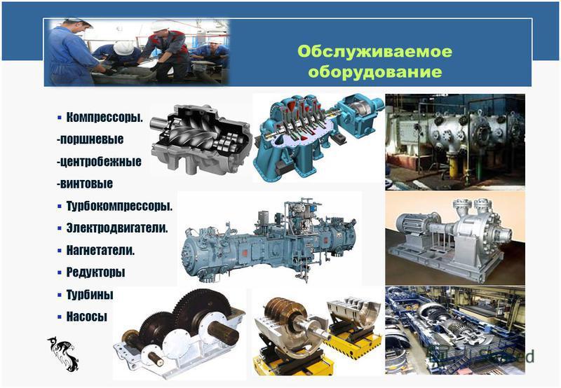 Обслуживаемое оборудование Turbo Compressor Services Компрессоры. -поршневые -центробежные -винтовые Турбокомпрессоры. Электродвигатели. Нагнетатели. Редукторы Турбины Насосы