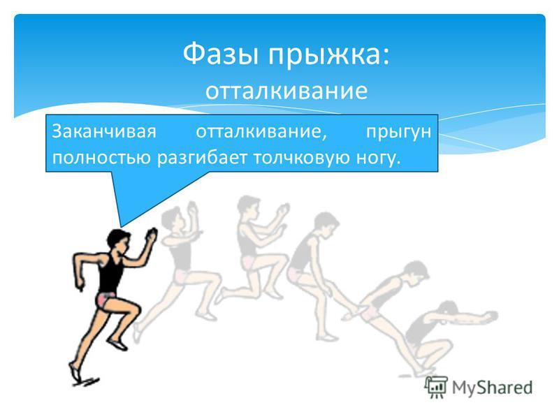 Заканчивая отталкивание, прыгун полностью разгибает толчковую ногу. Фазы прыжка: отталкивание