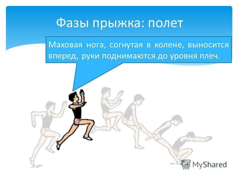 Маховая нога, согнутая в колене, выносится вперед, руки поднимаются до уровня плеч. Фазы прыжка: полет