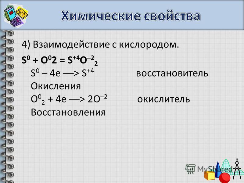 4) Взаимодействие с кислородом. S 0 + О 0 2 = S +4 О –2 2 S 0 – 4e ––> S +4 восстановитель Окисления О 0 2 + 4 е ––> 2O –2 окислитель Восстановления