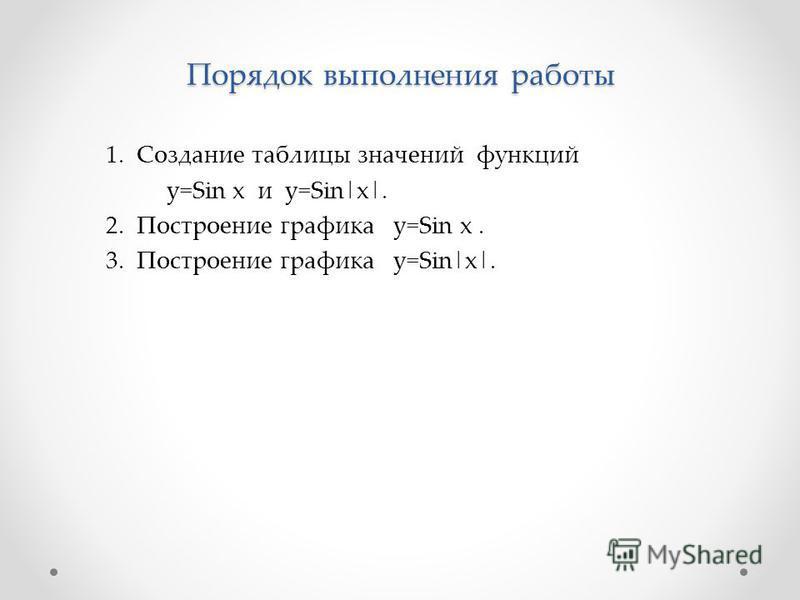 Порядок выполнения работы 1. Создание таблицы значений функций y=Sin x и y=Sin|x|. 2. Построение графика y=Sin x. 3. Построение графика y=Sin|x|.