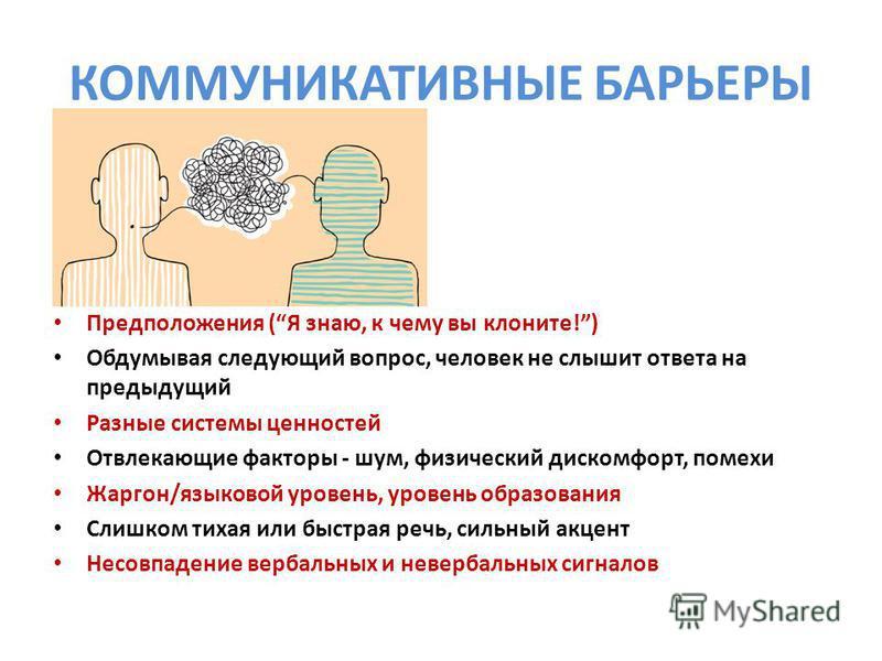 КОММУНИКАТИВНЫЕ БАРЬЕРЫ Предположения (Я знаю, к чему вы клоните!) Обдумывая следующий вопрос, человек не слышит ответа на предыдущий Разные системы ценностей Отвлекающие факторы - шум, физический дискомфорт, помехи Жаргон/языковой уровень, уровень о