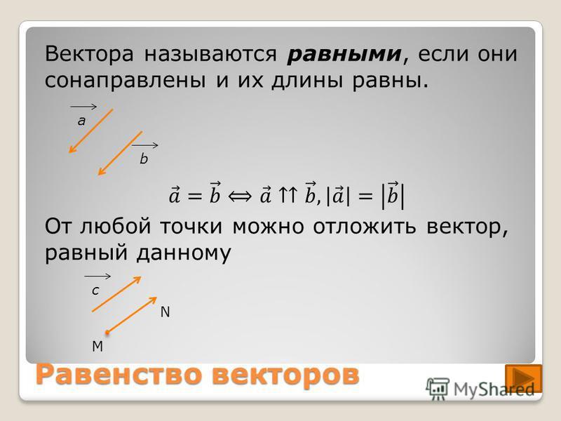 Равенство векторов аbс М N