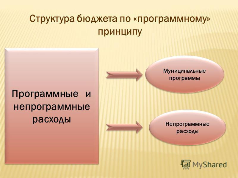 Структура бюджета по «программному» принципу Программные и непрограммные расходы Муниципальные программы Непрограммные расходы