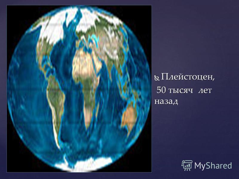 Плейстоцен, Плейстоцен, 50 тысяч лет назад 50 тысяч лет назад