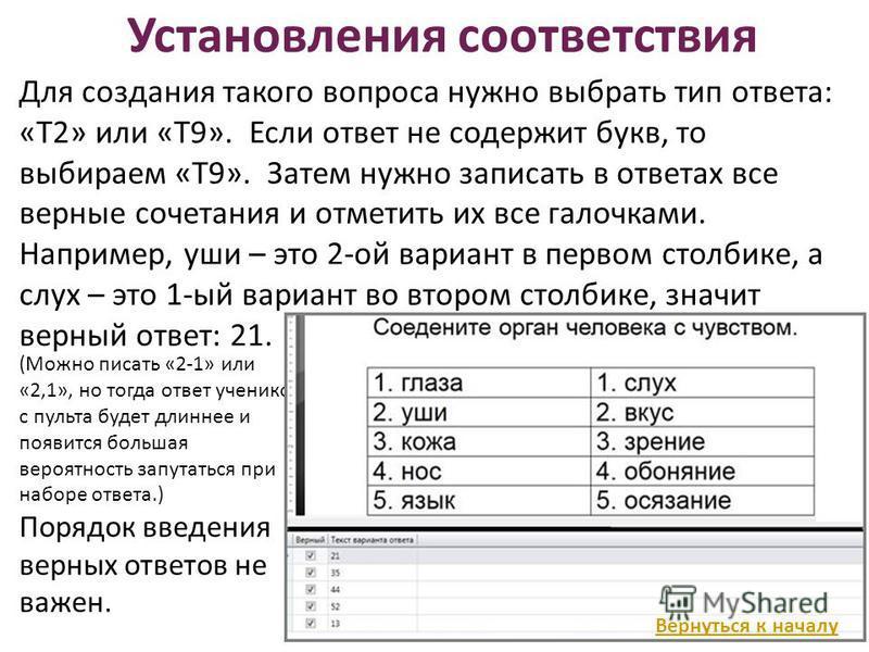 Установления соответствия (Можно писать «2-1» или «2,1», но тогда ответ учеников с пульта будет длиннее и появится большая вероятность запутаться при наборе ответа.) Порядок введения верных ответов не важен. Для создания такого вопроса нужно выбрать