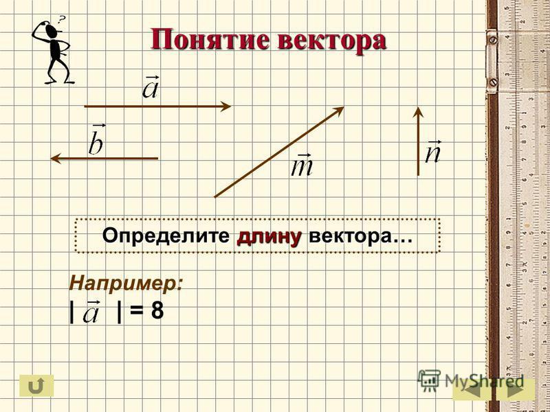 Понятие вектора Определите длину вектора… Например: | | = 8