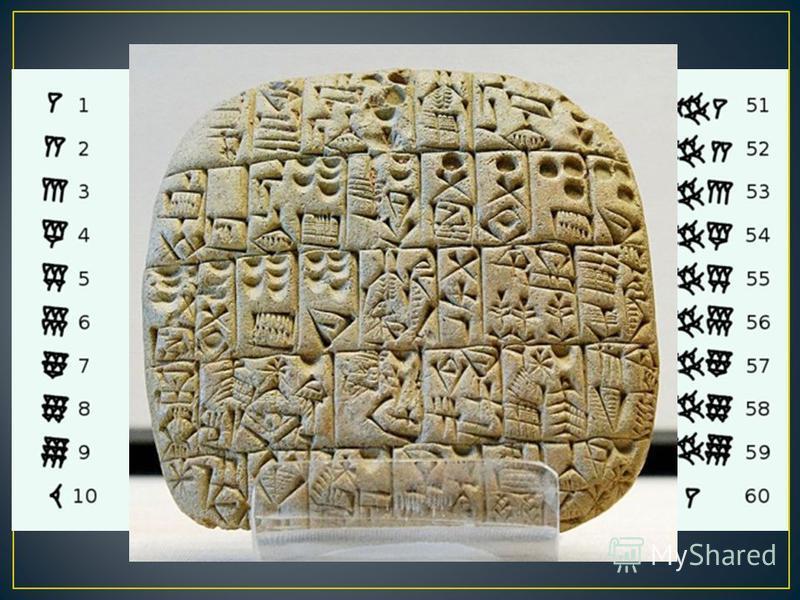 Вавилонская система счисления применялась за две тысячи лет до н. э. Для записи чисел использовались всего два знака : стоячий клин для обозначения единиц и лежачий клин для обозначения десятков внутри шестидесятеричного разряда.