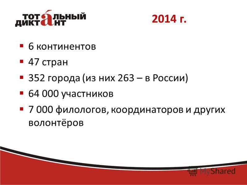 2014 г. 6 континентов 47 стран 352 города (из них 263 – в России) 64 000 участников 7 000 филологов, координаторов и других волонтёров