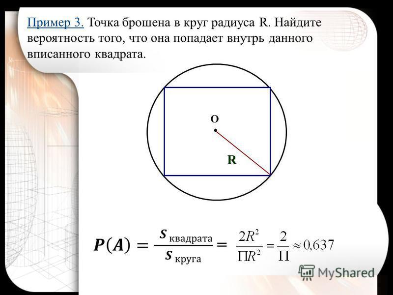 R O Пример 3. Точка брошена в круг радиуса R. Найдите вероятность того, что она попадает внутрь данного вписанного квадрата.
