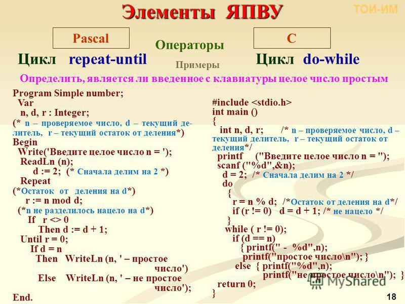 Элементы ЯПВУ C Операторы Pascal Цикл repeat-until Цикл do-while Примеры Определить, является ли введенное с клавиатуры целое число простым Program Simple number; Var n, d, r : Integer; (* n – проверяемое число, d – текущий де- литель, r – текущий ос