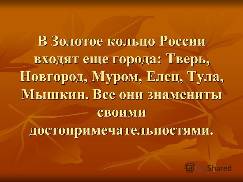 В Золотое кольцо России входят еще города: Тверь, Новгород, Муром, Елец, Тула, Мышкин. Все они знамениты своими достопримечательностями.